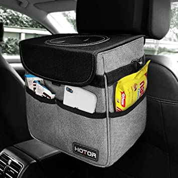 HOTOR Car Trash Can with Lid and Storage Pockets Multipurpose Trash Bin for Car Black 100/% Leak-Proof Car Organizer Waterproof Car Garbage Can