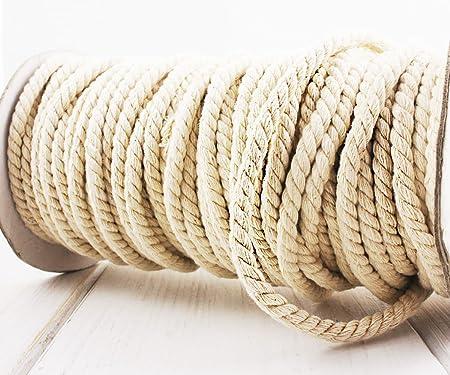 2m 6.6 ft 2.2 yds de color Crudo de color Blanco Crema Cordón de Algodón Natural de la Cuerda de Trenzado Artesanal Macramé Tejido Abalorios Cordel de la Cadena de 5mm .2en: