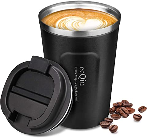 Oferta amazon: eeQiu Taza de café para Llevar 13oz 100% a Prueba de Fugas - Taza de Viaje de Acero Inoxidable - Taza de automóvil de Doble Pared Tapa de Aislamiento Taza de café Reutilizable ecológica (Negro)