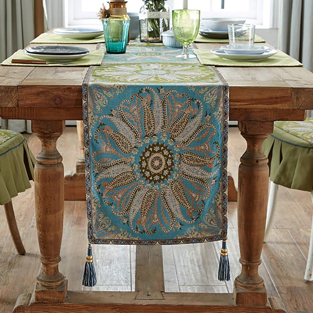 Super Kh® テーブルランナーテーブルクロスリネン刺繍ヨーロッパのコーヒーテーブルテーブルの装飾テーブルテーブルティーテーブル (色 : Peacock Green, サイズ さいず : 41*180cm) 41*180cm Peacock Green B07KTMT58Y