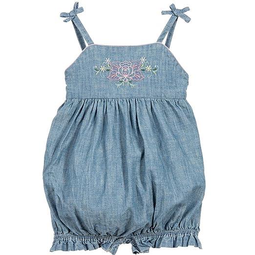 4daeec08fad2 Amazon.com  Ralph Lauren Baby Girls Embroidered Chambray Shortall ...