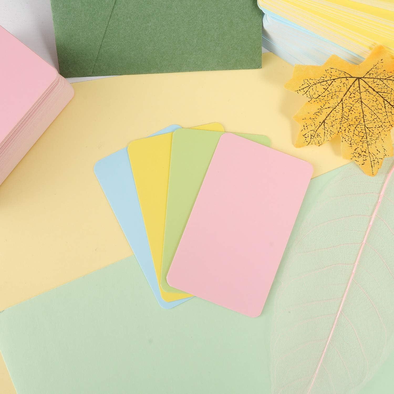 Gelb//Gr/ün//Blau//Wei/ß Geschenke Erinnerung mehrfarbige Nachrichtskarten Lernkarten f/ür Heimwerker Lernen Visitenkarten 400 St/ück Blanko Kraftpapier-Karten farbige Bastelkarten
