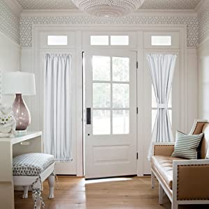 "NICETOWN Greyish White Sidelight Door Panel - Room Darkening French Door Thermal Drapery Panel for Privacy (25"" Width x 72"" Length, Platinum 