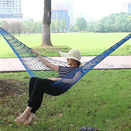 Blue Kalttoy Nylon Portable Mesh Hammock Hanging Sleeping Bed Swing Outdoor Tr