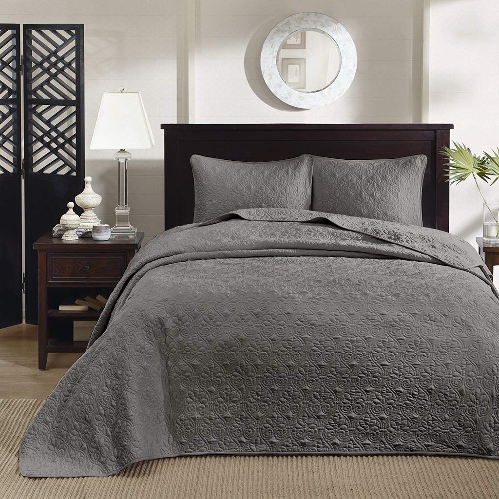 Dark Grey King Madison Park Quebec Dusty Pale bluee 3-Piece Quilted King Coverlet Set—For King or Cal King Bed –Ideal For Warm Climate Room Décor or Add-on For Extra Warmth