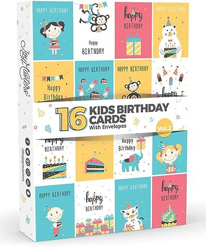 Lot De 16 Cartes D Anniversaire Pour Enfants Vol 2 Par Joy Masters Multipack Pour Garcons Et Filles Amazon Fr Fournitures De Bureau