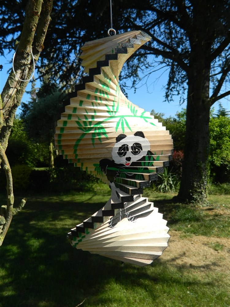 Panda 40cm Thai Gifts Wooden Wind Spinner