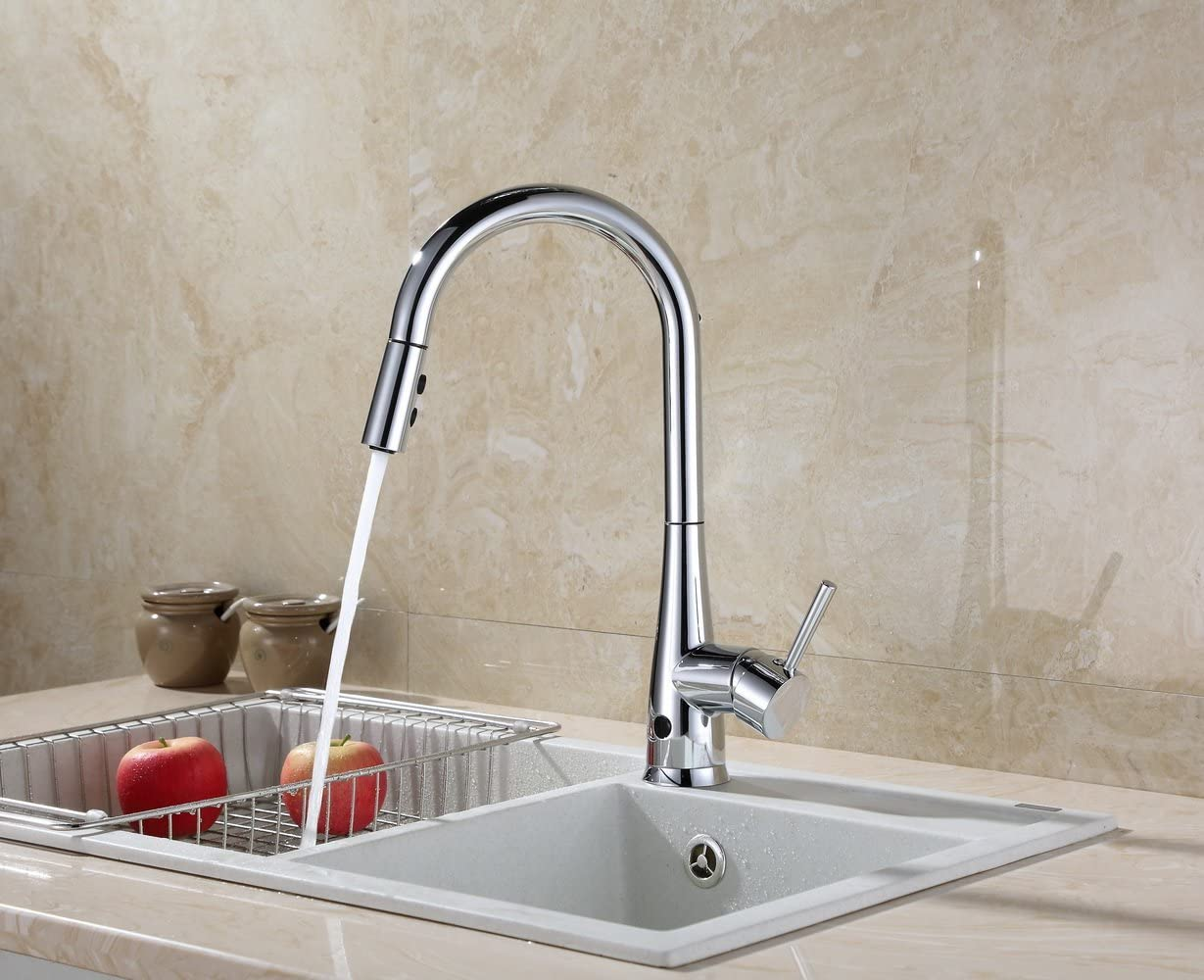 RunFine RF411002 Modern High Arc Best Commercial Pull Out Kitchen Faucets Chrome Stainless Steel Spout Dual-Mode Sensor Kitchen Sink Faucet with Pull down Sprayer