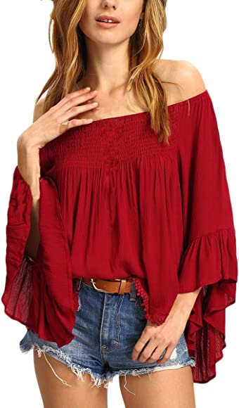 Blusa De Mujer Elegante Loose Casual Party Spring Verano Moda De Marca Camisas Mujeres Manga Larga Hombros Descubiertos Color Sólido Informales Tops Rojo: Amazon.es: Ropa y accesorios