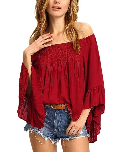 Mujer Camisas Manga Larga Primavera Verano Rojas Fiesta Camisetas Tops Elegantes Hombros Descubiertos Barco Cuello Ropa