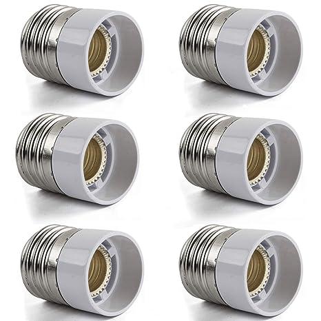 AWELIGHT 6 x Casquillo Adaptador Conversor E27 a E14 para bombillas LED