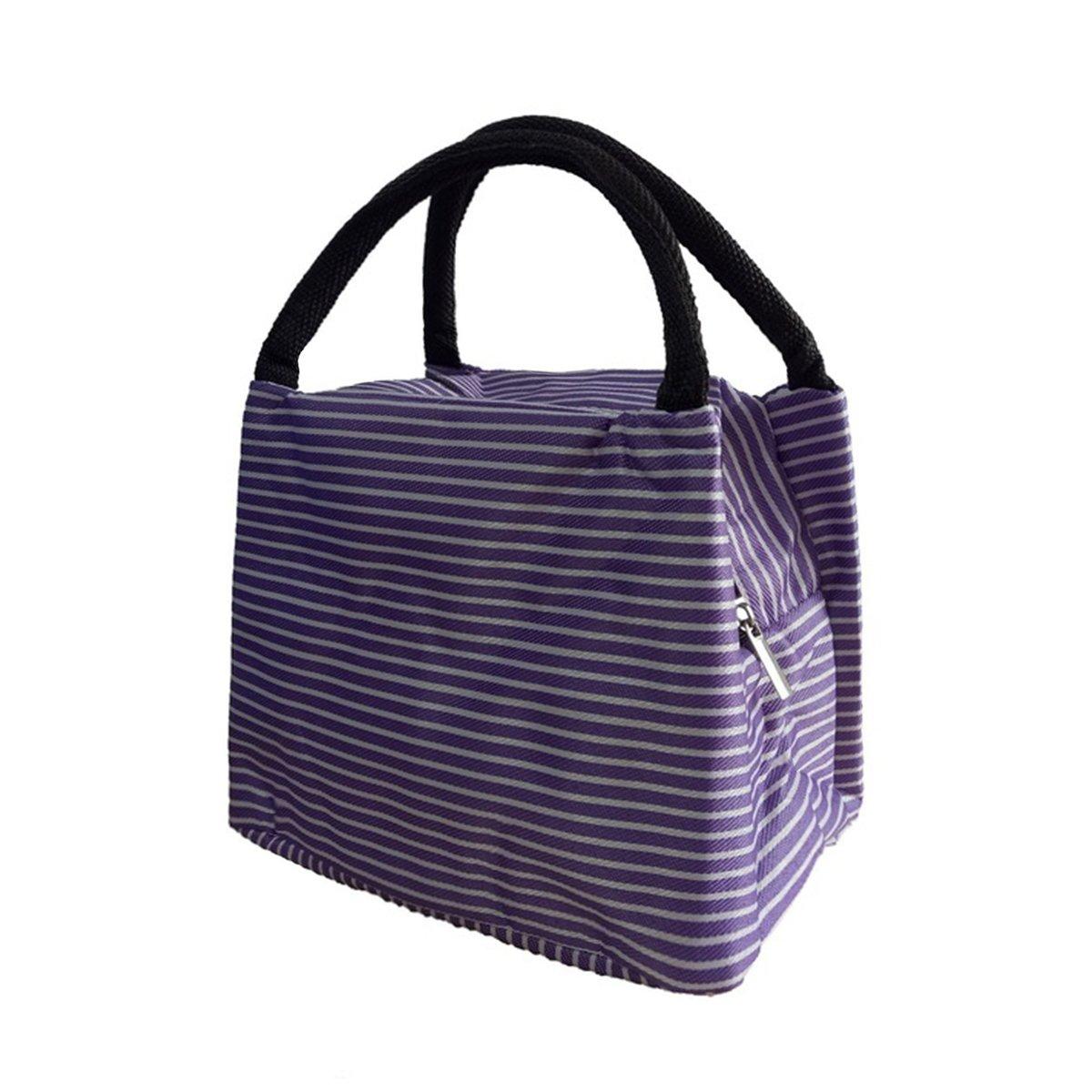Tick Tocking tragbar Streifen isoliert K/älte Picknick Lunch-Boxen Aufbewahrungstasche Bewahren Frische oxfordfabric Lunchbox Einheitsgr/ö/ße violett