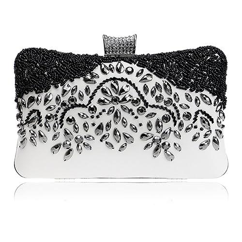 SSMK Evening Bag - Cartera de mano para mujer multicolor blanco y negro: Amazon.es: Zapatos y complementos