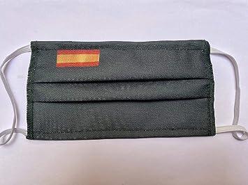Mascarilla verde tela protectora homologada 3 capas bandera de España: Amazon.es: Salud y cuidado personal