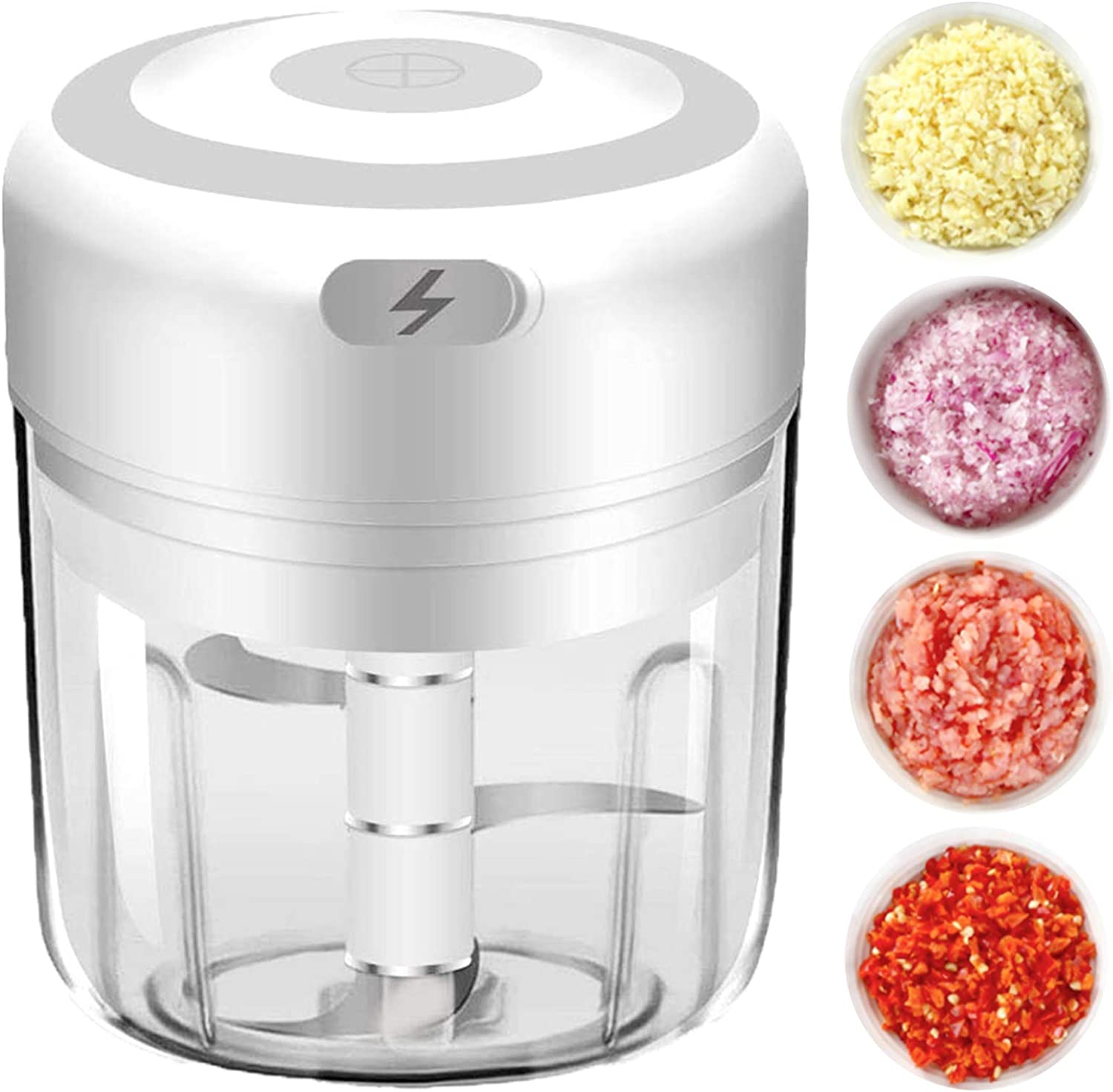 Electric Mini Garlic Chopper, Food Cutter with 250 ml Container, Kitchen Helper to Chop Vegetable and Blend Baby Food