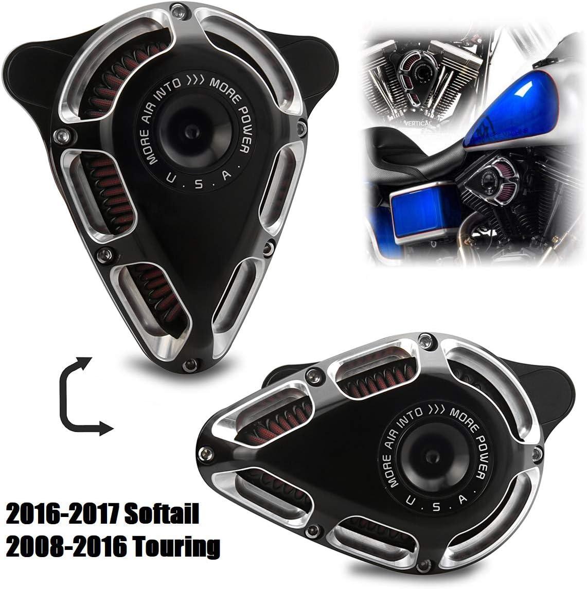 Kits dadmission de filtre /à air de moto noir et chrome pour Harley Touring Street Glide 2008-2016 Road Glide 08-16 Dyna FXDLS 17