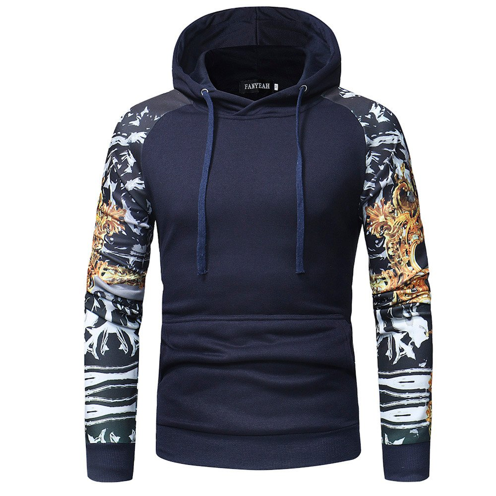 PASATO Classic Men's Camouflage Long Sleeve Print Hooded Sweatshirt Tops Jacket Coat Outwear Clearance Sale(Navy, L=US:M)
