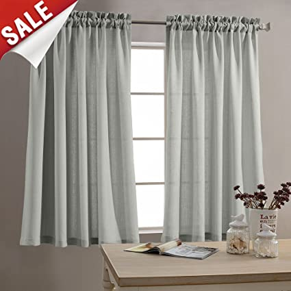 Attirant Kitchen Curtains 45 Inch Length Privacy Semi Sheer Half Window Curtains  Textured Tiers Thick Sheer Café