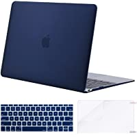 MOSISO MacBook 12 Inch Case,Plastic Hard Shell Case & Keyboard Cover & Screen Protector Compatible with MacBook 12 Inch Retina Display A1534 (Newest Version 2017/2016/2015), Navy Blue