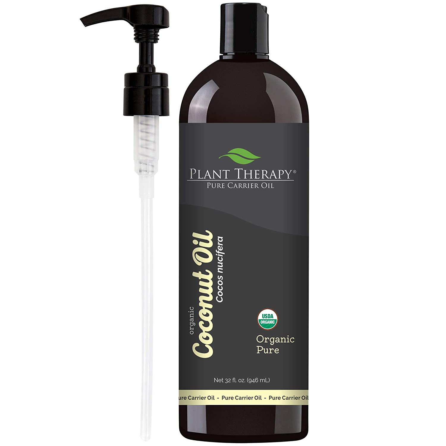 Plant Therapy Essential Oils Organic Fractionated Coconut Oil For Skin, Hair, Body 100% Pure, USDA Certified Organic, Natural Moisturizer, Massage & Aromatherapy Liquid Carrier Oil 32 oz, Pump In