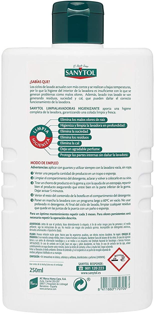 Sanytol - Limpialavadoras Higienizante Sin Lejía, 250 ml: Amazon ...