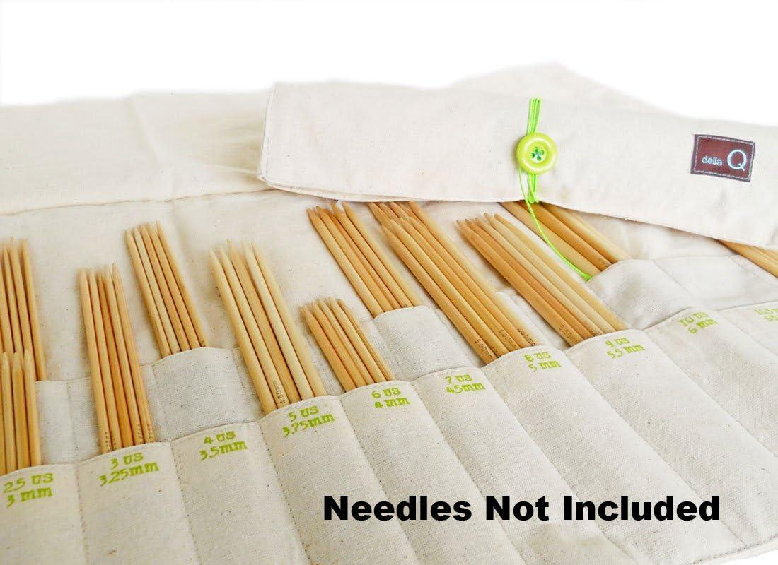 della Q Natural Knitting Case 20-Pockets for Interchangeable Knitting Needles NLG Natural 185-B-NLG