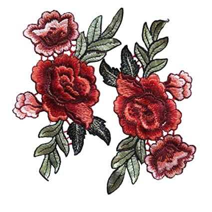 e442dba0a1d1dd Amazon.com  Red Rose Flowers Patch Embroidered Floral Applique Sew on  Patches for Lace Fabric Clothes DIY Craft Supply (1 Pair) by Jiaufmi  Arts