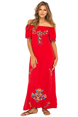 792b5fa0e0f Back From Bali Womens Long Mexican Embroidered Dress, Maxi Long Summer  Peasant Dresses for Women