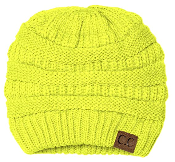 Gravity Threads Thick Knit Soft Stretch Beanie Cap - Neon Yellow at ... 4a8c904f521