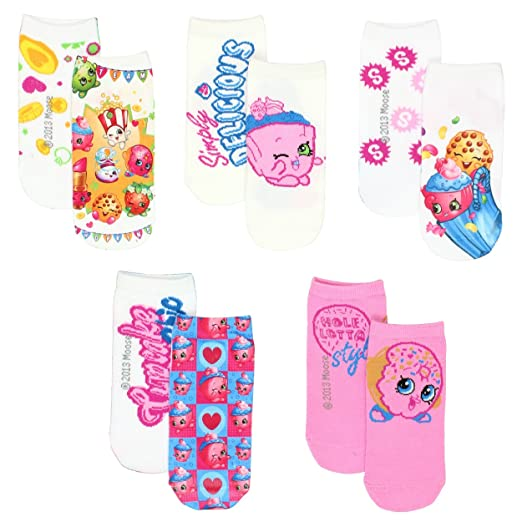 da26cd18ef0 Amazon.com  Shopkins Little Girls 5 pack Socks (6-8.5 (Shoe  7-3 ...