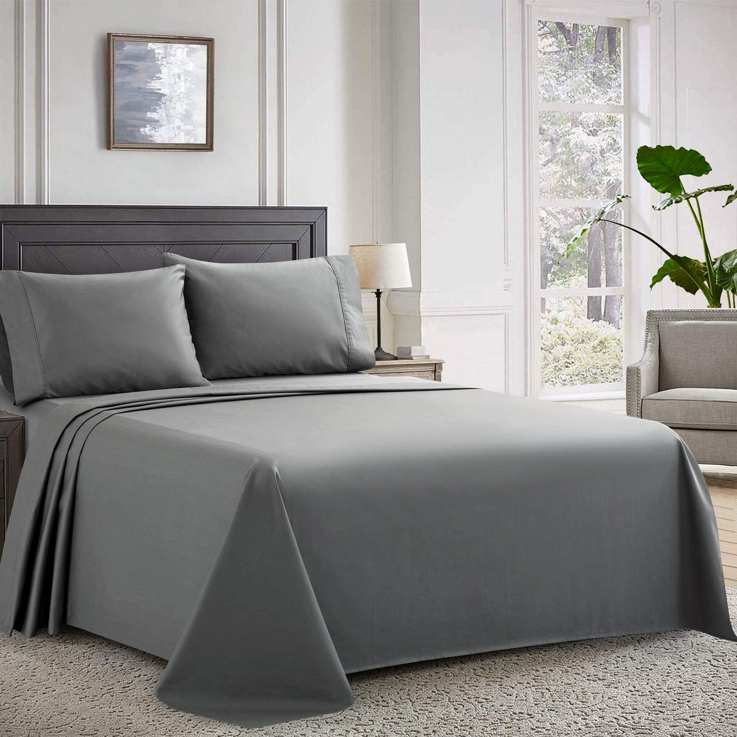 Newspin Cotton Bed Sheets Set with 16 inch Deep Pockets 400-Thread-Count