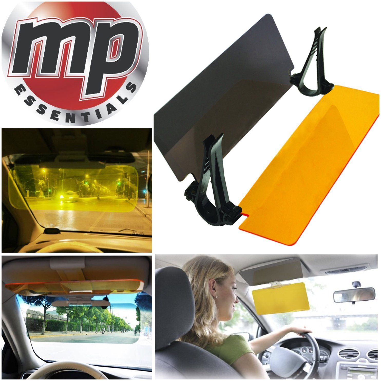 MP Essentials 2 in 1 Car & Van Dual Night & Day Sun Headlight Anti-Glare Anti Dazzle Visor