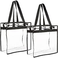 Stadium Approved Clear Plastic Tote Bags with Handles (12x12x6 In, 2 Pack)