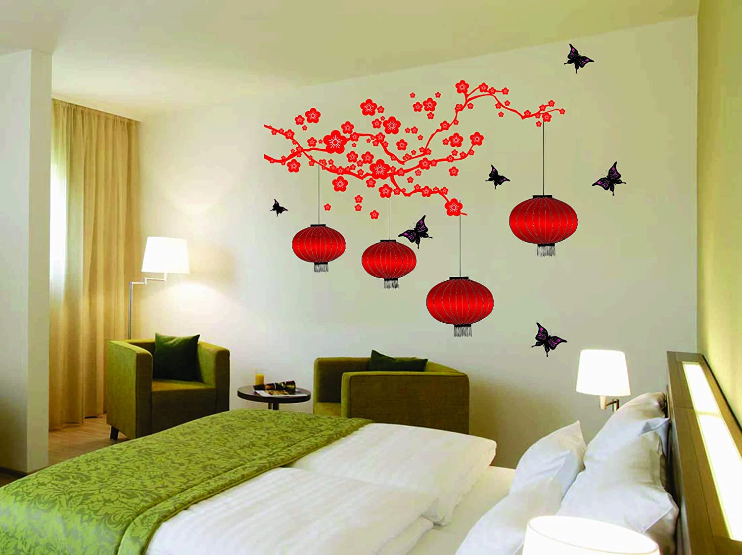 Buy happy walls chinese lanterns and lamps in attractive bright red wall coverage 150 cm h x 165 cm w in double sheet wall stickers decals 6980