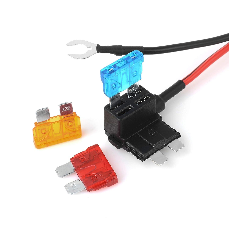1 juego DC12V toma de mechero de coche extensi/ón fusible de coche fusible de grifo ATC 5A //10A//15 A brida para cables M