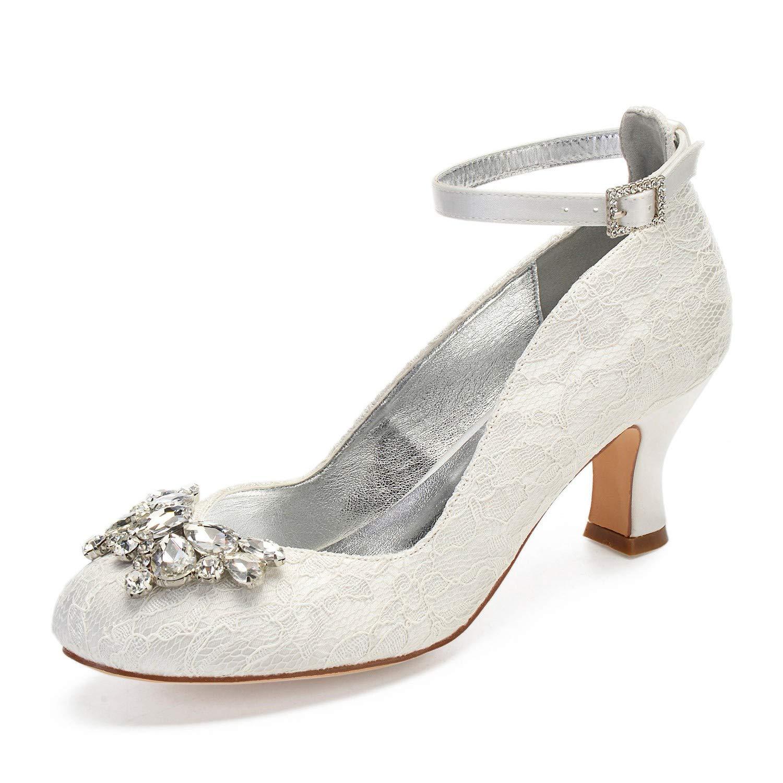 Zxstz Damen Chunky Heel Schuhe Stretch Satin Frühling Herbst Pumps Hochzeit Schuhe Blockabsatz Runde Zehe Kristall Perle Elfenbein