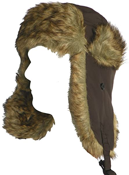 9b20182f6ee Klondike Sterling Nylon Trooper Hat with Faux Fur Ear Flaps Brown (Medium)