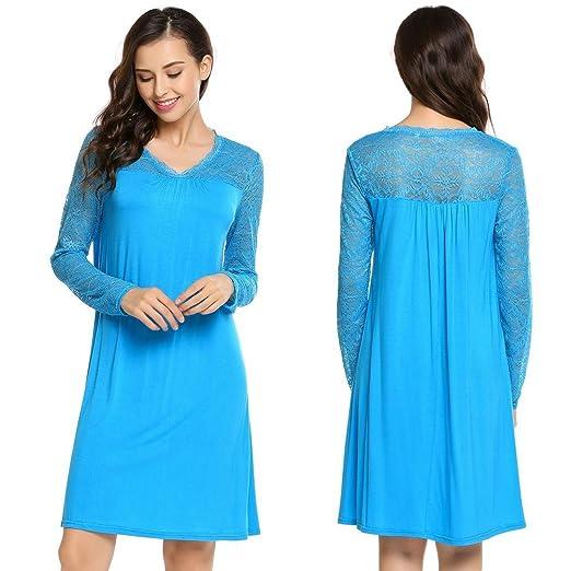 19ca6f053ff0 Zeagoo Loose Lace Dress Long Sleeve Casual Cocktail Plain Simple ...