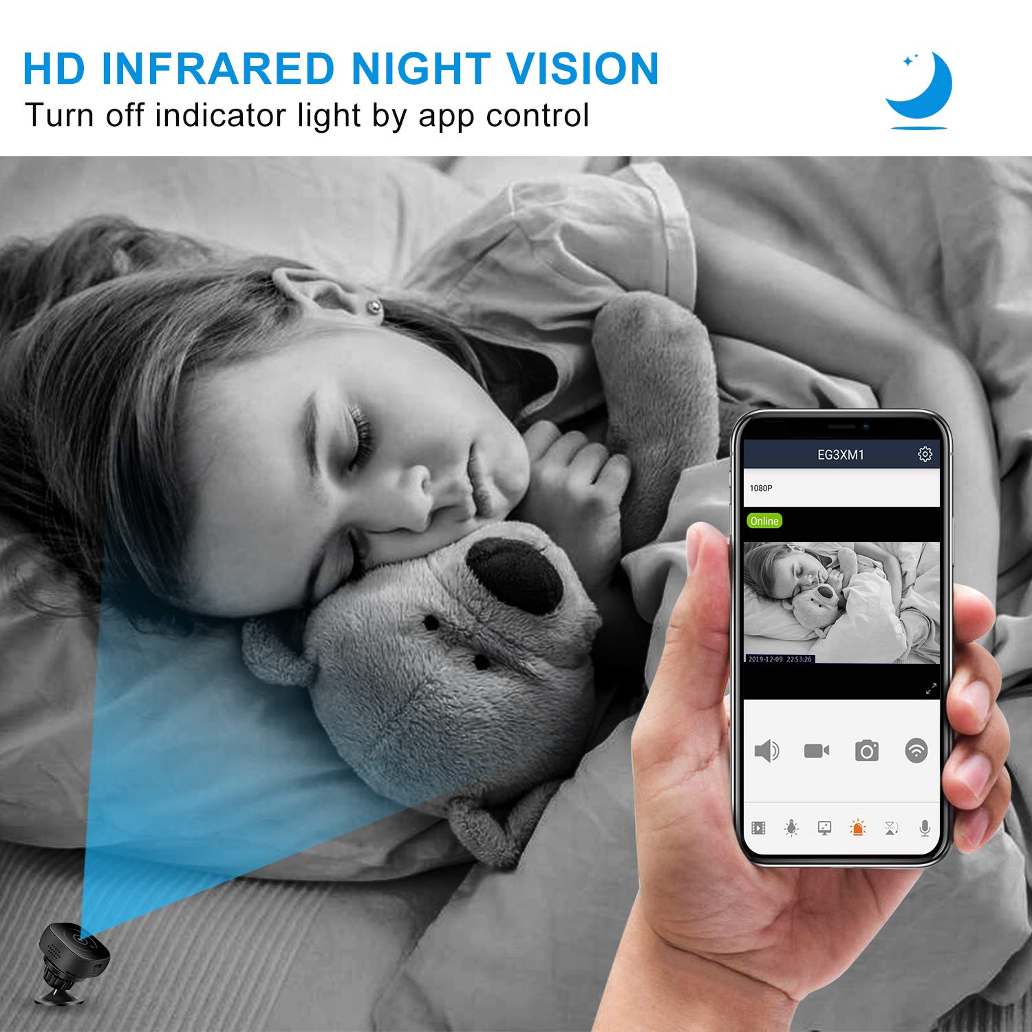 Mini Spy Camera Wireless Hidden WiFi Cameras, HD 1080P Live Streaming Small Nanny Camera with Night Vision and Motion Activated, Micro Security Body Cop Cam with Cell Phone APP for Home and Outdoor