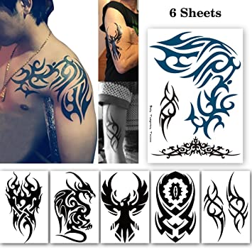 2f2a3379e Leoars 6 Sheets Extra Large Tribal Totem Temporary Tattoo for Men Women  Body Arm Big Tattoo Stickers: Amazon.in: Toys & Games