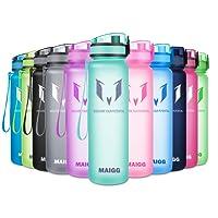 MAIGG Beste Sports Trinkflasche - 500ml & 1000ml - Eco Friendly & BPA-freiem Kunststoff - für das Laufen, Fitness, Yoga, Im Freien und Camping - Schnelle Wasserdurchfluss , Flip Top, öffnet sich mit 1-Click - Wiederverwendbare mit dicht schließendem Deckel