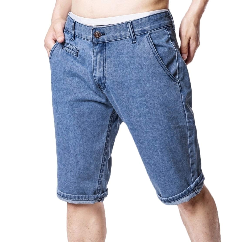 JXG Men Straight Leg Solid Casual Slim Denim Shorts Jeans with Pockets
