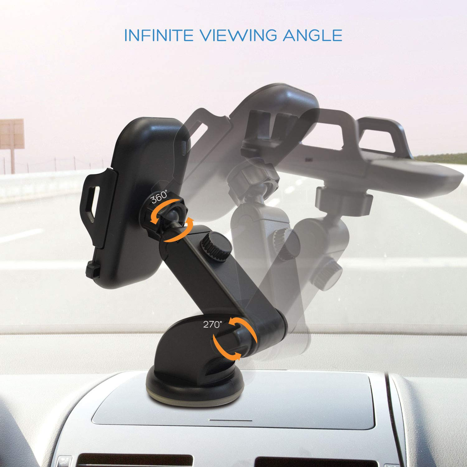 Dashboard Cell Phone Holder,Phone Holder,Windshield Phone Mount,Strong Suction Cup,Telescopic Arm,Car Phone Mount,Car Phone Holder,Car Mount,Car Holder,Car Cell Phone Holder for Smartphones and JPS