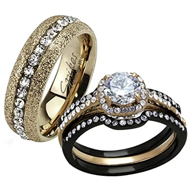 HIS HERS 4 PC BLACK U0026 ROSE GOLD STAINLESS STEEL WEDDING ENGAGEMENT RING Band  SET Size