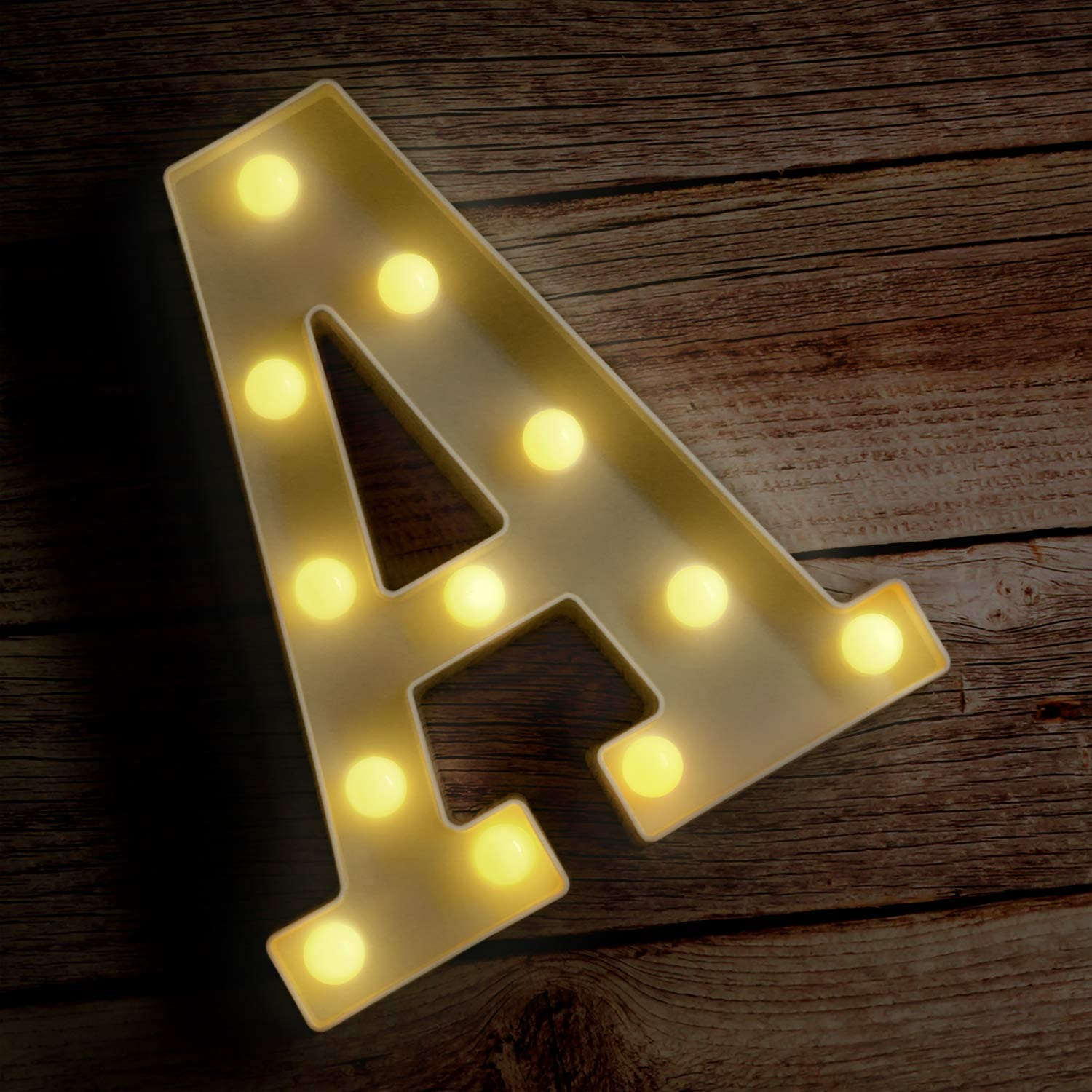 Novelty Place Alphabet Light - Marquee Letters Sign with Shining Bulbs, Standing Night Lamp for Wedding Home Party Bar Décor - Battery Powered, Warm White (Letter A)