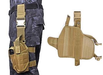 airsson gota pierna pistola Hoster soporte mano izquierda con un bolsa de revista de repuesto Linterna Funda para Makarov PM pistola, Bronceado: Amazon.es: ...