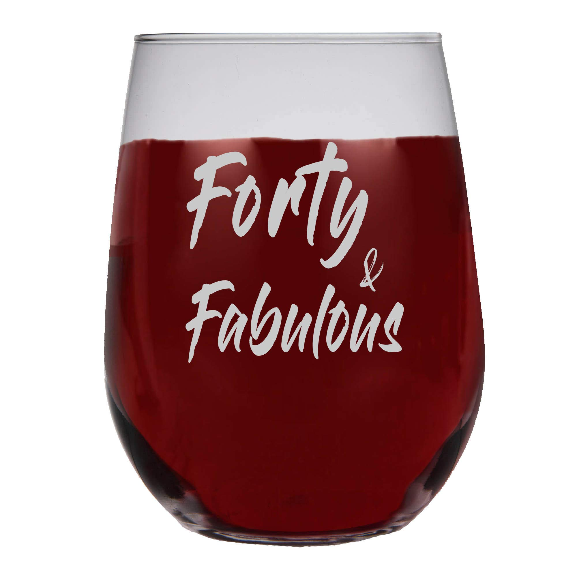 Shop4Ever Forty & Fabulous Frost Print Stemless Wine Glass ~ 40th Birthday Gift ~ (Frosted Print)