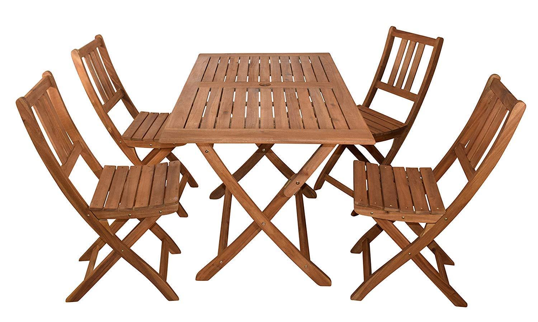 SAM 5-TLG. Gartengruppe Callao, 1x Tisch 120x70 cm + 4X Klappstuhl Blossom, Balkon-Set, Akazien-Holz, FSC® 100% Zertifiziert