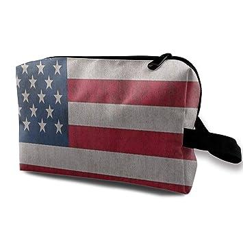 87502b3e385e Amazon.com : Makeup Bag Retro American USA Flag Handy Travel ...