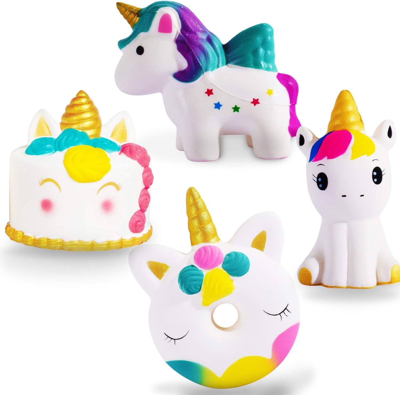 4PCS Jumbo Squishy Toys Slow Rising Kawaii Squishy Animals Unicorn Squishies Cream Scented Squishies Pack Stress Relief Super Soft Squeeze Kawaii Cute Squishy Slow Rising for Kids Boy & Girl Xmas Gift